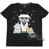 茱麗葉精品【全新現貨】KARL LAGERFELD 卡爾 手寫LOGO養蜂人卡爾棉質短T恤.黑