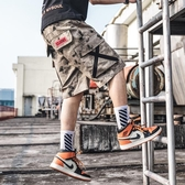 多口袋工裝短褲男天迷彩五分褲寬鬆潮流休閒大褲衩中褲  蘑菇街小屋