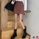 熱賣短裙 春裝復古紅色短裙2021新款高腰毛呢半身裙女學生顯瘦a字包臀裙子 coco