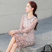 快時尚 時尚豹紋碎花雪紡氣質連身裙緊身性感女神范包臀裙HF2252956#