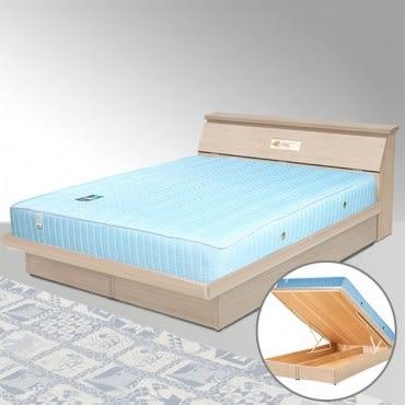 【Homelike】席歐6尺掀床組+獨立筒床墊-雙人加大(二色任選)白橡木紋