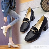 英倫風小皮鞋女新款春秋鞋子復古方頭高跟單鞋粗跟一腳蹬樂福鞋 夏季新品