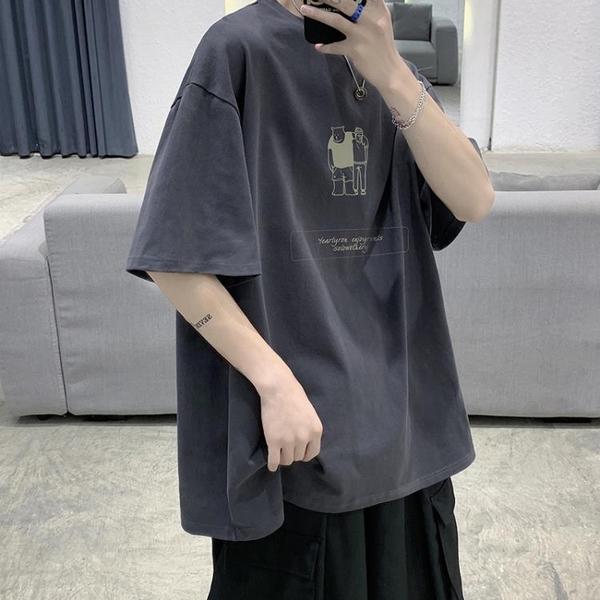 短袖夏季男士t恤韓版潮流寬鬆半截袖日系體恤潮牌原宿風ins五分袖 黛尼時尚精品