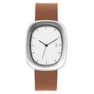 【萬年鐘錶】10:10 BY NENDO Window 001 機窗系列 銀框/淺咖啡皮 錶徑31MM