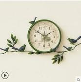 田園創意掛鐘錶家用客廳臥室圓形個性裝飾鐘簡約靜音歐式鄉村時鐘