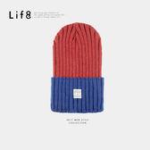 Casual 高磅針織 雙色復刻毛帽-紅藍【05303】