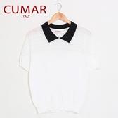 【南紡購物中心】【CUMAR】拼接領短袖針織上衣(白色)