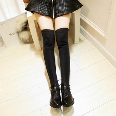 真皮過膝靴-歐美時尚潮流綁帶平底女長靴3色73iv2[時尚巴黎]