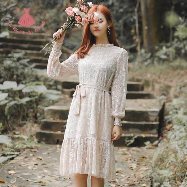 春夏正韓淑女小清新文藝復古蕾絲洋裝連身裙秋季打底蕾絲裙子 巴黎時尚生活