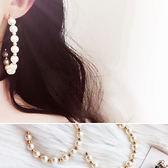 耳環 個性 珍珠 鏤空 半圓形 金珠 大圈圈 耳環【DD1711052】 BOBI  11/30