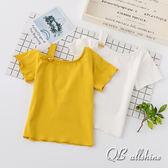 女童上衣 韓版鈕扣造型露斜肩內搭短袖T恤 QB allshine