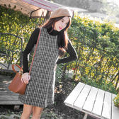 OrangeBear《DA4301》經典格紋毛呢質感高腰背心洋裝.2色--適 XL~4L