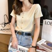 方領上衣 方領短袖T恤女夏短款新款高腰緊身潮鎖骨復古法式上衣服-Ballet朵朵