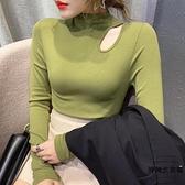 打底衫內搭加絨上衣半高領純棉修身長袖t恤女潮【時尚大衣櫥】