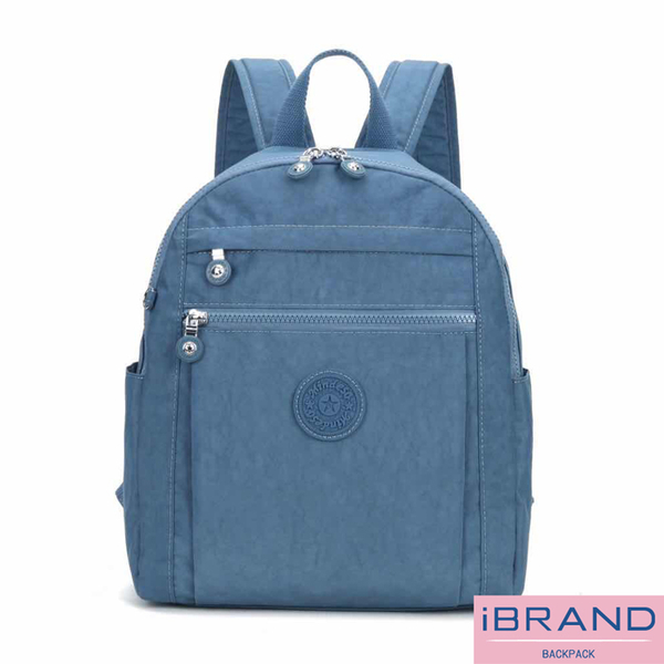 iBrand後背包 輕盈防潑水微甜尼龍口袋後背包-牛仔藍 MDS-8613