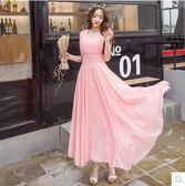 洋裝 波西米亞長款 V領雪紡修身沙灘裙631-1150 巴黎春天