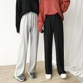 秋季復古韓國顯瘦百搭松緊腰闊腿褲氣質直筒綁帶休閒褲  萬聖節禮物