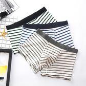 男式內褲平角純棉100%棉青年秋季透氣薄款日系條紋全棉男士薄四角