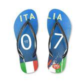 QWQ創意鞋-  世界盃足球紀念鞋 義大利 細帶女款天然橡膠人字拖
