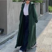 棉質外套長版大衣開衫M-2XL韓版寬鬆大碼長款過膝連帽長袖衛衣NC417.648胖胖唯依二店