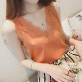 雪紡吊帶背心女夏季V領外穿內搭短款韓版性感寬鬆百搭打底衫上衣 小宅女