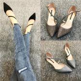 夏季亮片尖頭細跟包頭涼鞋 高跟羅馬涼鞋【多多鞋包店】z7532