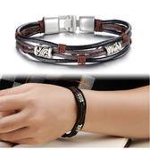 【5折超值價】316L西德鈦鋼最新款復古個性圖紋造型男款皮手環