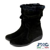 【IMAC】義大利磨砂皮革毛飾氣墊女靴  黑色(206261-BL)