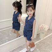 女童套裝新款夏裝洋氣韓版時尚兒童裝時髦牛仔短褲兩件套潮衣  9號潮人館