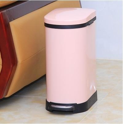 不銹鋼垃圾桶腳踏家用衛生間客廳廚房【U形10升粉色】
