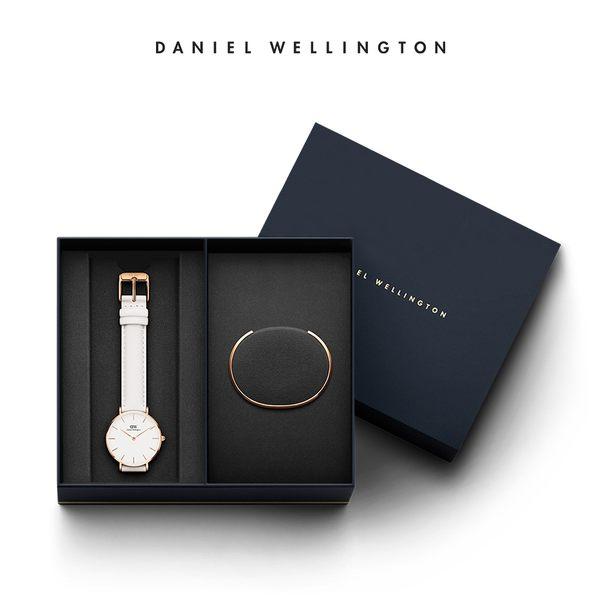 Daniel Wellington DW 禮盒 32mm純真白真皮錶+時尚奢華手鐲-S