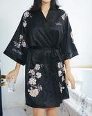 85折 絲綢睡衣女夏性感睡袍刺繡日式和服浴衣浴袍 【99狂歡購】