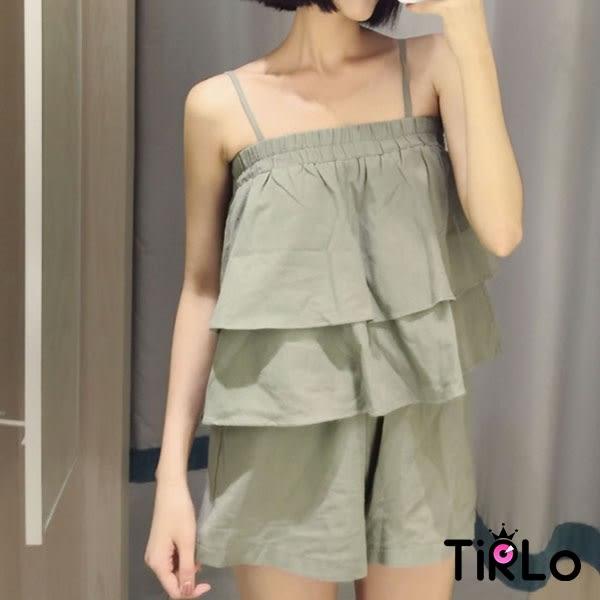 套裝-Tirlo-挺版細肩帶荷葉背心短褲兩件式-兩色(現+追加預計5-7工作天出貨)