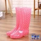 女雨鞋波點高筒 防滑耐磨 PVC水晶雨靴...
