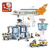 拼插積木 快樂小魯班0367益智拼插拼裝軍事積木飛機模型際機場小顆粒積木 珍妮寶貝