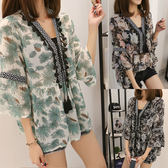 【GZ23】韓版甜美時尚印花雪紡衫七分袖寬鬆顯瘦流蘇V領上衣 M~4XL