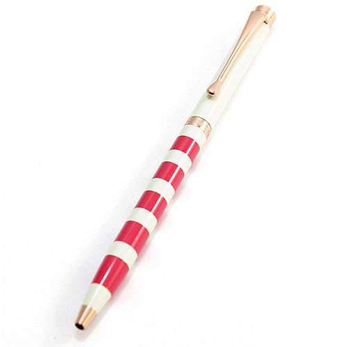 MITIQUE美締克 Oriental 東方美系列 象牙白橫條紋玫瑰金夾原子筆 (BLZMB506018)