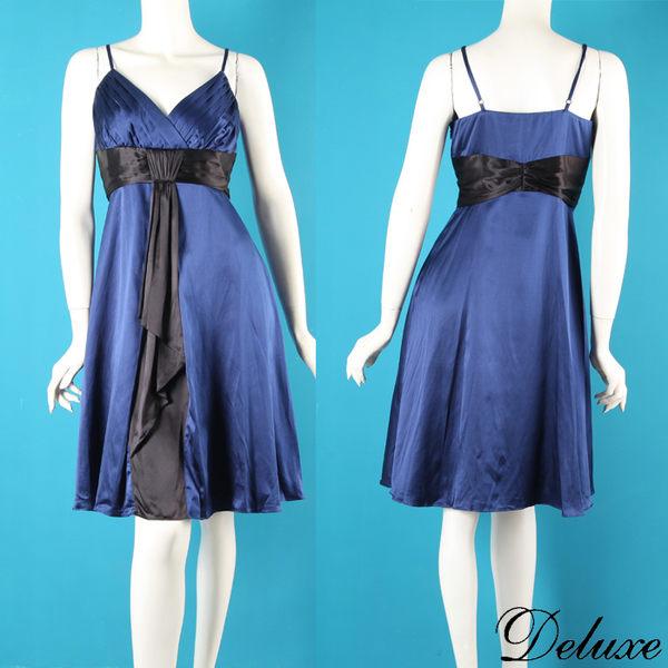 【Deluxe】歐系簡約優雅細肩帶晚宴小禮服(藍)