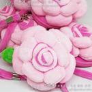 立體玫瑰花毛絨零錢包 手提包 耳機包 時尚可愛觸感佳-艾發現