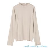 「Autumn」木耳捲邊羅紋彈性高領長袖上衣 - earth music&ecology