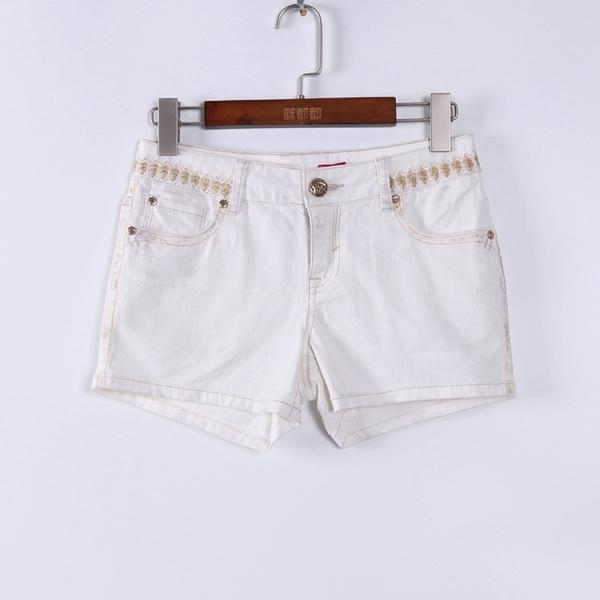 [超豐國際]谷夏裝女裝白色休閑舒適百搭款短褲 散88801(1入)