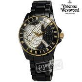 Vivienne Westwood / VV088SGDBK / Sloane Showpiece 星球引力晶鑽陶瓷手錶 黑色30mm