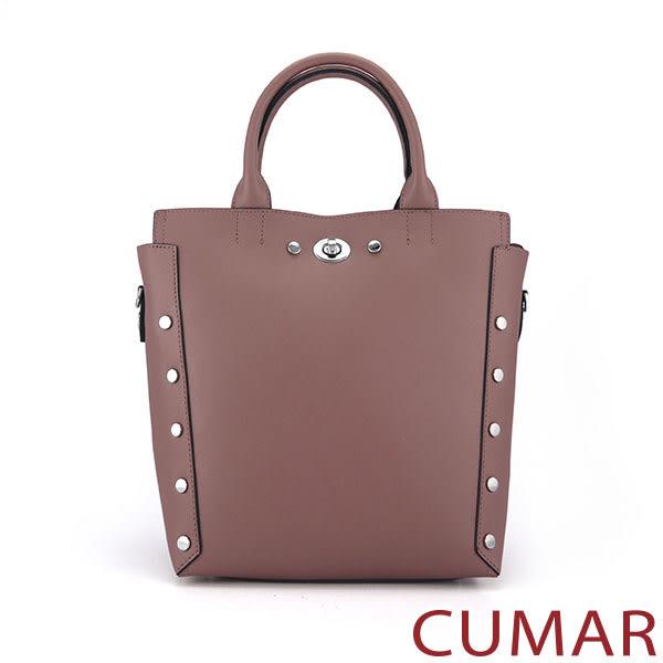 【CUMAR女包】個性造型鉚釘手提/斜背包-粉藕