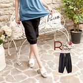 七分褲--完美腿型比例飾釦設計束口下擺抽繩褲頭七分褲(黑M-2L)-S73眼圈熊中大尺碼