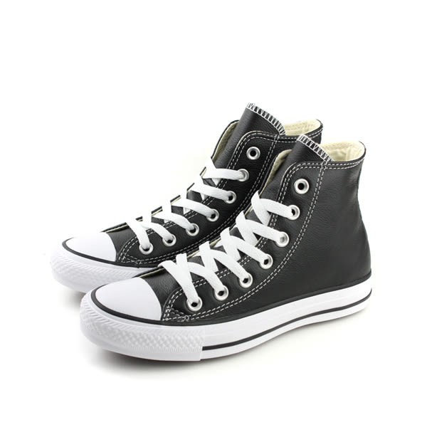 CONVERSE Chuck Taylor All Star Leather 皮革 舒適 高筒 基本款 經典 戶外休閒鞋 黑色 男女鞋 132170C no059