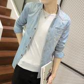 季丹寧牛仔襯衫男青少年修身長袖襯衣男韓版學生寸衫薄款外套潮流 檸檬衣捨