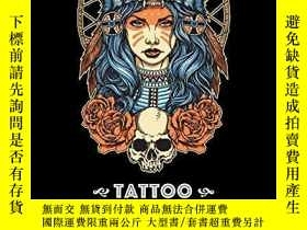 二手書博民逛書店Tattoo罕見Coloring Book: Black Background: Stress Relieving