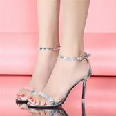 網紅黑色高跟鞋2020女夏季新款百搭性感細跟一字扣帶氣質露趾涼鞋 韓語空間