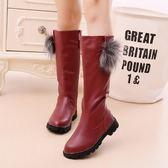 女童靴子秋冬新款加絨長筒靴韓版冬靴兒童中筒靴雪地棉靴   全館免運