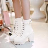 春秋冬季單靴子女鞋超高跟粗跟系帶馬丁靴英倫風40短靴41大碼43白 KV4669 【野之旅】